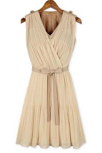 Fashion Style Sleeveless Woman Pleated Dress Solid - Apricot