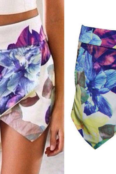 WOMEN LOTUS FLOWER SKORTS ASYMMETRIC TIERED SHORTS WITH INVISIBLE ZIPPER