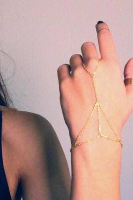 Sale!!! ONLY $3$ !!! Gold Tone Bracelet Bangle Slave Chain Link Interweave Finger Ring Hand Harness