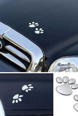 Sale!!! ONLY $3$ !!! 3D Sliver Bear Dog Animal Paw Footprint Car Window Bumper Body Decal Sticker