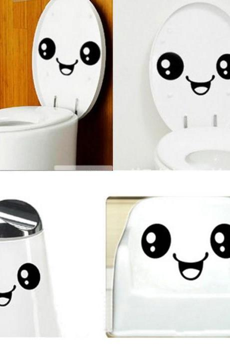 Sale!!! ONLY $3$ !!! Creative Toilet Smiling Face Bathroom DIY Decal Funny Vinyl Sticker Wall Art