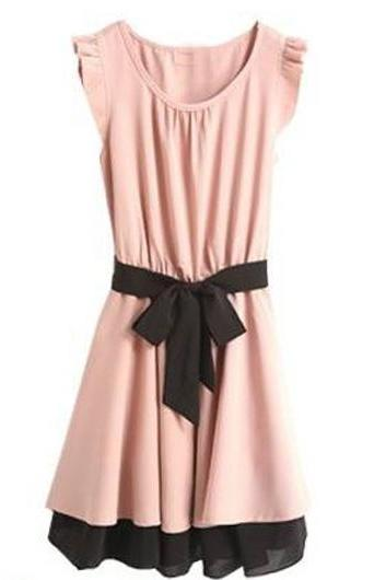 Charming Round Neck Skater Dress for Woman - Pink