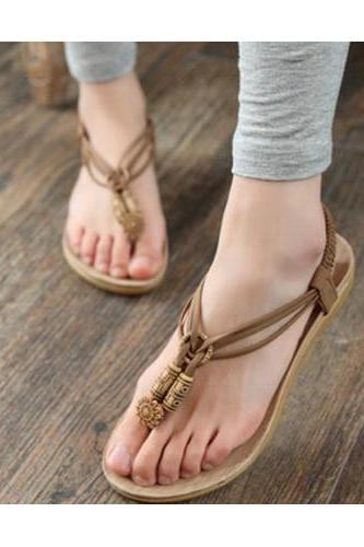 Khaki Faux Leather sandals