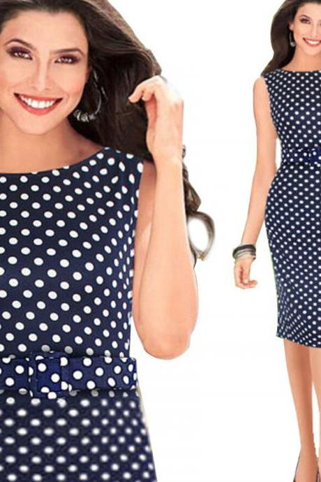 WIIPU Elegant Pinup Polka Dot Bodycon Pencil Tank Business Work Belted Dress