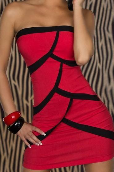 (SL1)Fashion Red Clubwear Splice Strapless Mini Dress