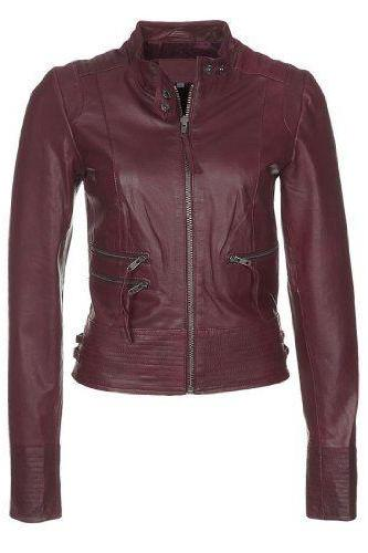 WOMEN LEATHER JACKET OF MAROON COLOR,FASHION LEATHER JACKET FOR WOMEN,BIKER JACKET