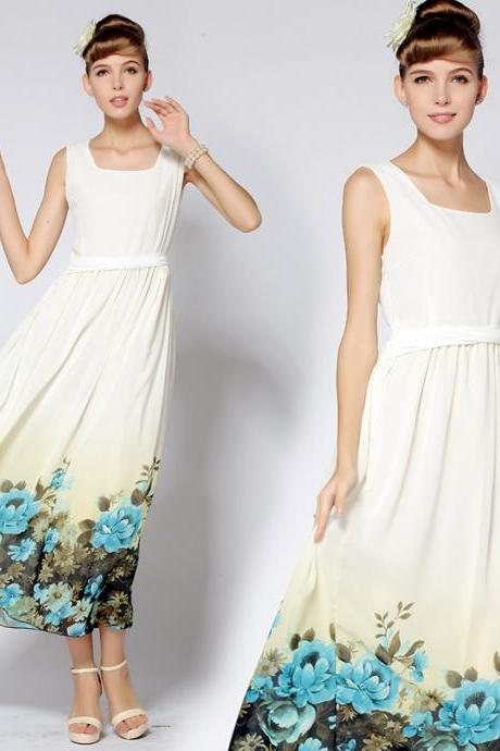 Designer Princess Style Chiffon Maxi Dress With Blue Flowers