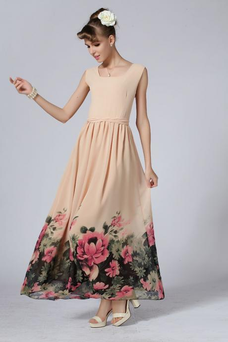 Designer Princess Style Chiffon Maxi Dress With Red Flowers