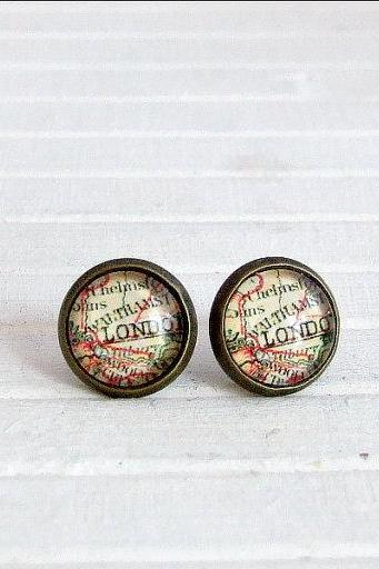 London Map Earrings