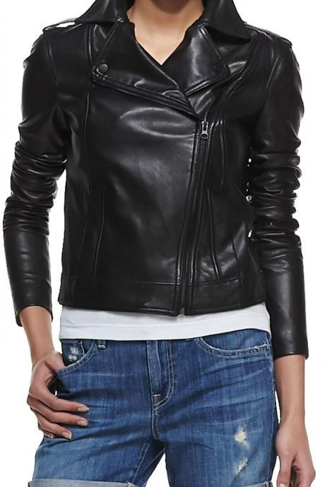 WOMEN WHITE LEATHER JACKET, WOMEN LEATHER JACKETS, BLACK WOMEN JACKET