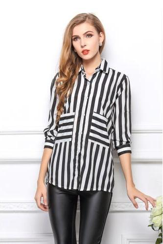 Striped shirt blouse chiffon