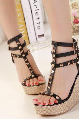 Studded Wedge High Heel Ankle Strap Sandals
