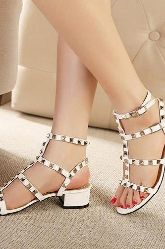 Studded White Chunky Heel Gladiator Sandals