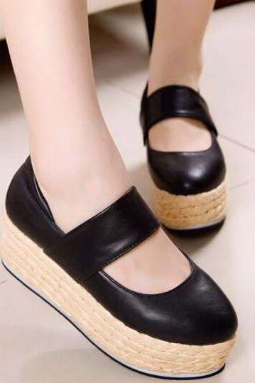 Cute Black Round Toe Wedge Shoes