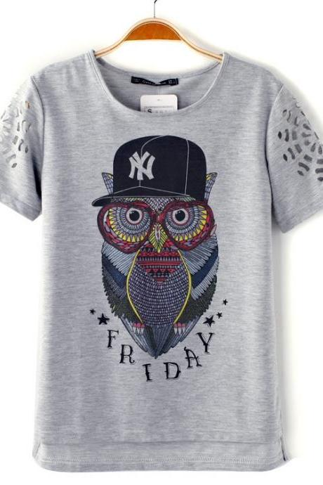 Cartoon OWL Designs Short Sleeve T-shirt Top
