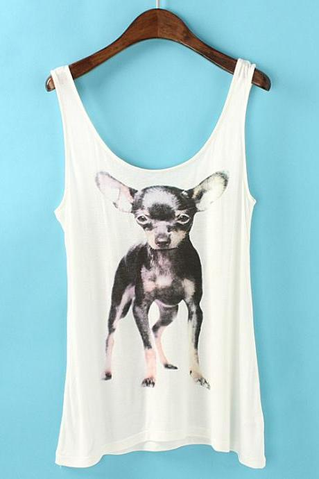 Dog Print Vest-cotton Top