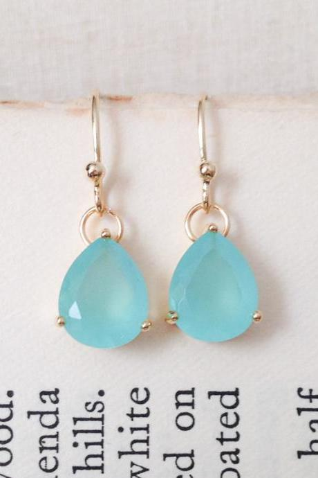 Mint teardrop Glass earrings