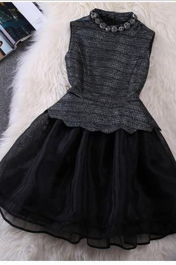 Vintage Organza Black Dress