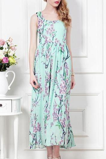 Comfy Square Collar Sleeveless Floral Ankle Length Dress
