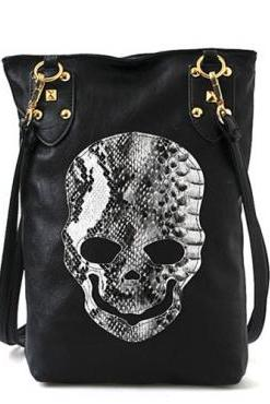 Fashion Punk Styles Zipper Design and Skull Print Black PU Messenger&Crossbody