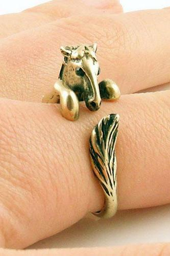 Horse - Animal Wrap Ring - Gold