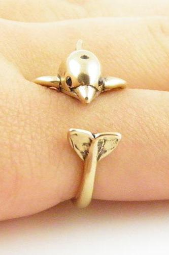 Dolphin - Animal Wrap Ring - Gold