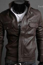 MEN STAND COLLAR LEATHER JACKET, MENS BROWN JACKET, MEN'S LEATHER JACKET