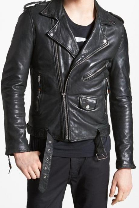 MENS LEATHER JACKET, MENS BLACK JACKET, MEN'S BIKER LEATHER JACKET, MEN BELTED JACKET