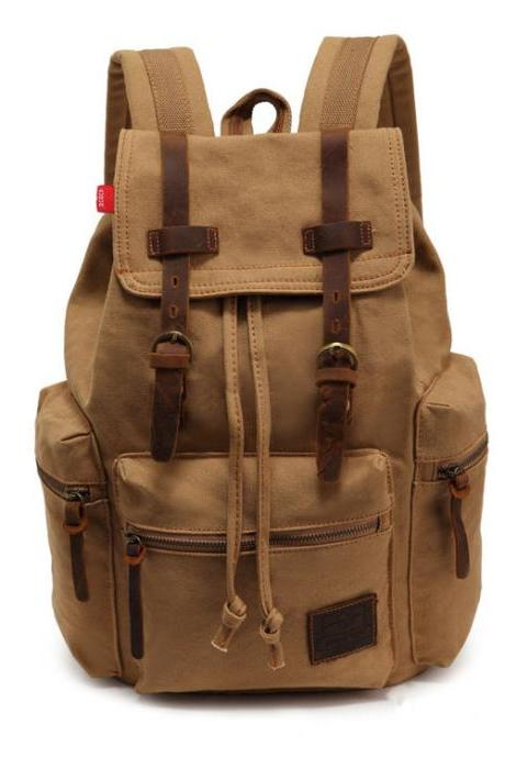 Retro Brown Scrub Travelling Canvas Backpack