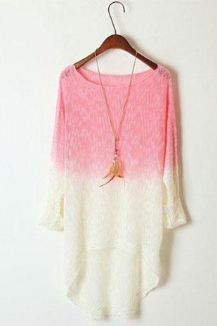 Fashion European Style Gradient Batwing High-Low Hemline Knit Sweater