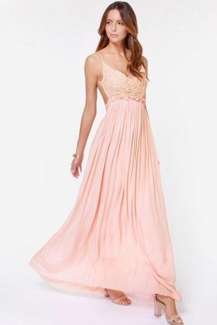 Sweet Pink Spaghetti Strap Solid Chiffon Ankle-Length Maxi Dress