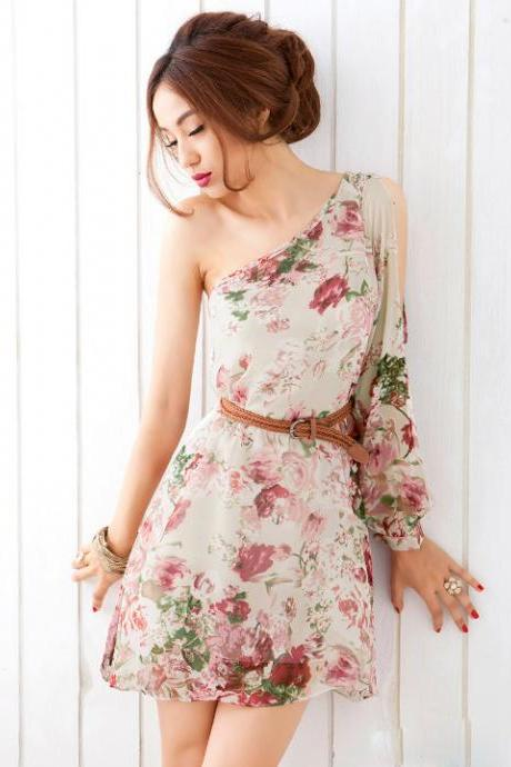 Apricot One Shoulder Floral Chiffon Above Knee Long Sleeve Straight Dress