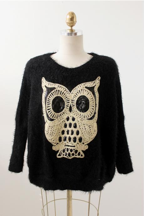 Black mohair sweater owl