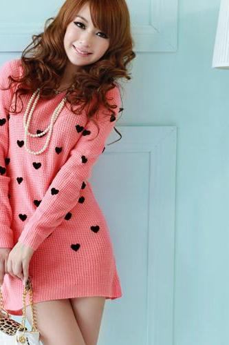Heart pink sweater