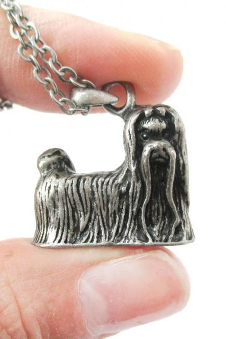 3D Detailed Maltese Dog Lover Animal Charm Necklace in Silver for Women