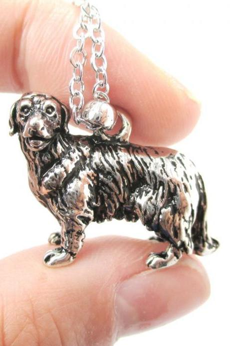 3D Detailed Golden Retriever Dog Lover Animal Charm Necklace in Shiny Silver for Women