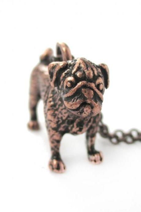 3D Detailed Pug Shaped Figurine Dog Lover Animal Charm Necklace in Copper for Women