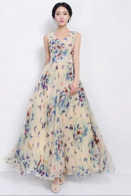 Hot Sale Designer Butterfly Floral Maxi Dress 8102