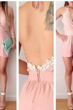 Sexy Halter Neck Spaghetti Strap Sleeveless Backless Lace Decorated Solid Pink Chiffon Regular Jumpsuit