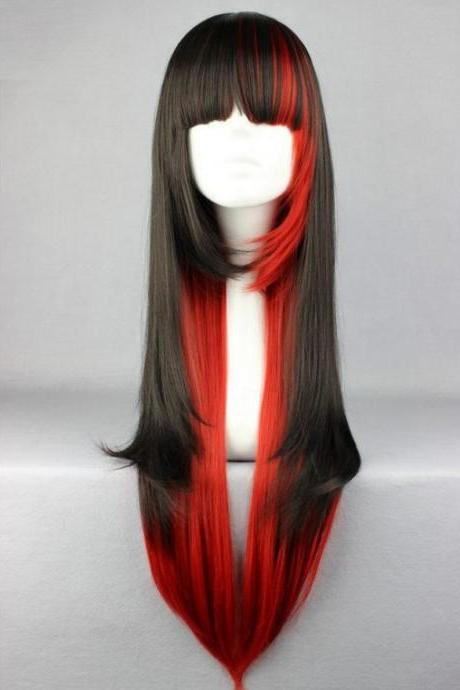 Free Shipping Anime Fashion Synthetic Long Hair Wigs Red Long Straight Cosplay Costume Wigs Black and Red Hair Wigs Multicolor Wigs