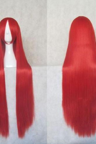 Free Shipping Fashion Synthetic Long Hair Wigs Red Long Straight Cosplay Costume Wigs Red Hair Wigs