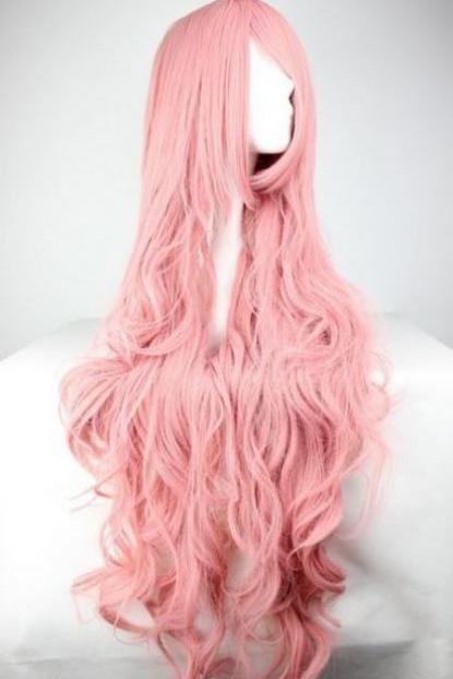 Free Shipping Fashion Synthetic Long Hair Wigs Pink Long Curl Wavy Cosplay Costume Wigs Pink Hair Wigs