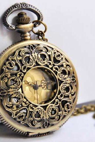 Vintage Exquisite Style Openwork Engraved Flower Shape Pocket Watch Pendant Women's Sweater Chain