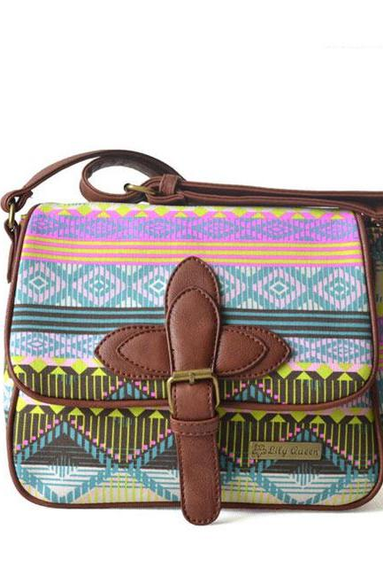 Fresh Rainbow Geometric Canvas Shoulder Bag