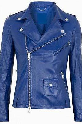 WOMEN BIKER LEATHER JACKET,WOMEN'S LEATHER JACKET,BLUE COLOR JACKET