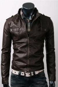 Men Slim Brown Leather Jacket with six front pockets, Mens leather jacket, biker leather jacket mens
