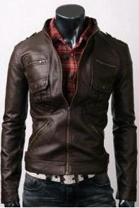 Men Slim Brown Leather Jacket with six front pockets, Mens leather jacket