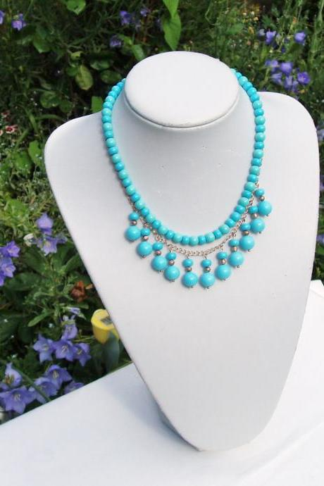 Turquoise Gemstone Handmade Bubble Necklace