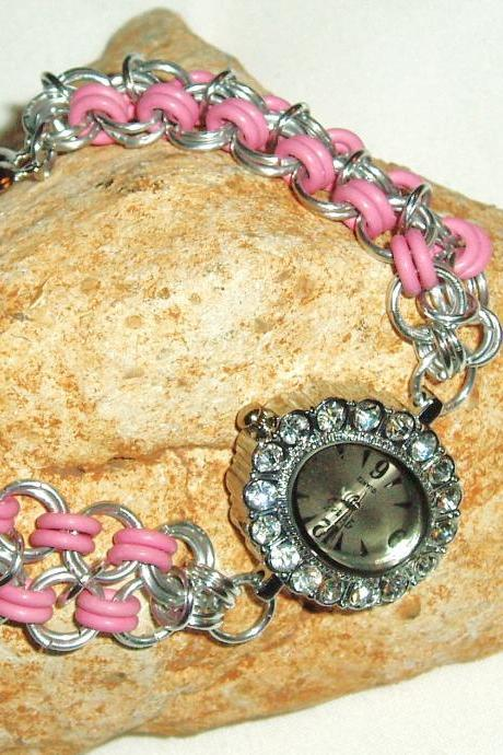 Pink Rubber Band Chain Maille Bracelet Watch