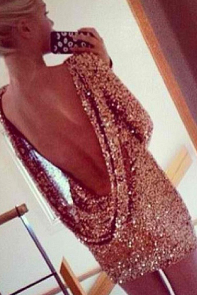 Sexy O Neck Long Sleeve Backless Sequined Gold Polyester Sheath Mini Dress